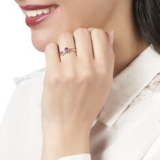 Bague Or Rose Noeud Amethyste Diamants