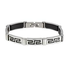 Bracelet Acier Caoutchouc Motif Grec