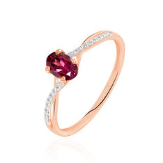 Bague Or Rose Andora Solitaire Accompagné Rhodolite