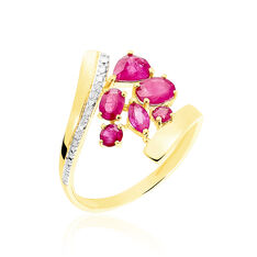 Bague Floraison Or Bicolore Rubis Diamant
