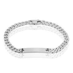 Bracelet Identite Argent Plaque