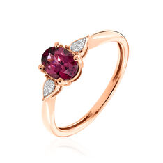 Bague Or Rose Alionka Solitaire Accompagné Rhodolite