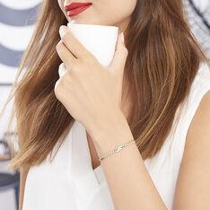Bracelet Plaque Or Bicolore Et Oxydes