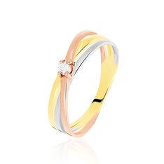 Bague Or Tricolore Solitaire Diamant - Bagues Solitaire Femme | Marc Orian