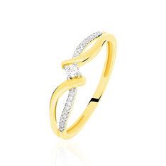 Bague Or Jaune Vague Semi Pavage Diamant
