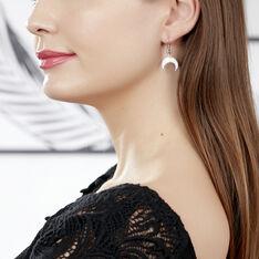Boucles D'Oreilles Argent Rhodie Zea Pendante Lune - Boucles d'oreilles Pendantes Femme | Marc Orian