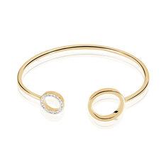 Bracelet Jonc Marina Plaque Or Cercles