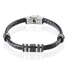 Bracelet Acier Et Cuir Tresse