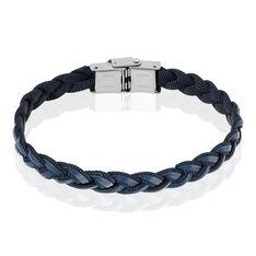Bracelet Trisse Acier Cuir Noir Et Gris