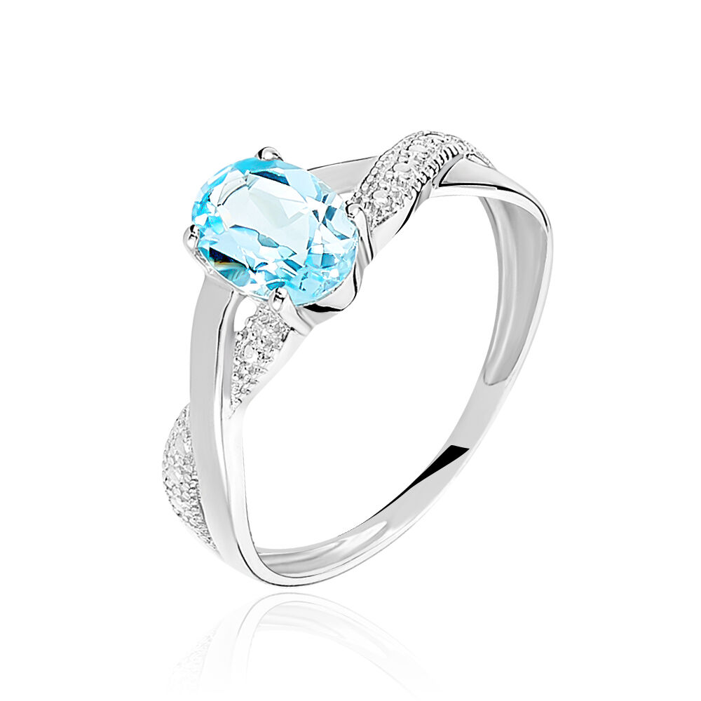 bague or blanc topaz