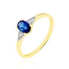 Solitaire Or Jaune Ludmilla Saphir Diamant - Bagues Femme | Marc Orian
