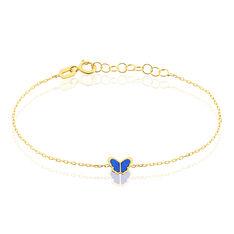 Bracelet Or Jaune Noanne Papillon Bleu