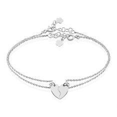 Bracelet Argent Abrar Double Chaines Motif C?Ur Secable