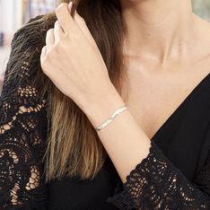 Bracelet Argent Bicolore Maille Tresse