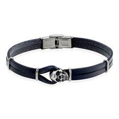 Bracelet Acier Cuir Bleu Motif Tete De Mort