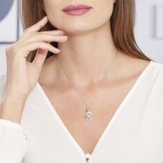 Collier Argent Ovale Vrille Oxyde
