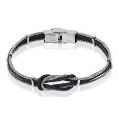 Bracelet Acier N?Ud Marin Cable Cordon Coton - Bracelets chaînes Homme | Marc Orian