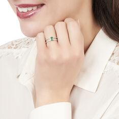 Bague Or Blanc Ovale Emeraude Diamants