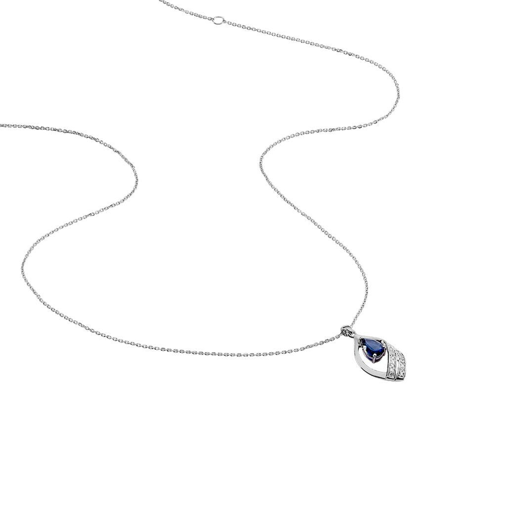Collier Odila Or Blanc Et Saphir - Colliers Femme   Marc Orian