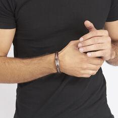 Bracelet Acier Cuir Cable Motif Ovale
