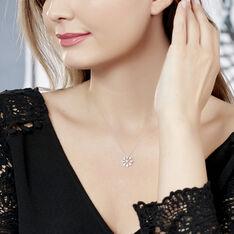 Collier Or Blanc Vickya Cercle Et Losanges Diamants