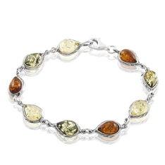 Bracelet Argent Ambres Poires Multicolores
