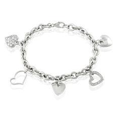 Bracelet Argent Rhodie Coeur Oxyde