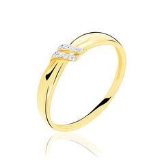 Bague Or Jaune N?Ud Barrette Diamants