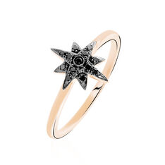 Bague Or Rose Laetia Etoile Diamants Noirs