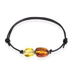 Bracelet Argent Ambre Cordon Noir