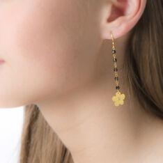 Boucles D'Oreilles Argent Dore Pendante Quartz - Boucles d'oreilles Pendantes Femme | Marc Orian