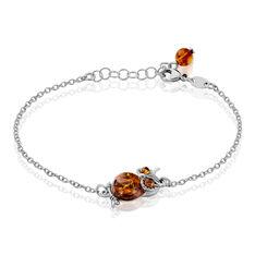 Bracelet Argent Rhodie Hibou Ambre