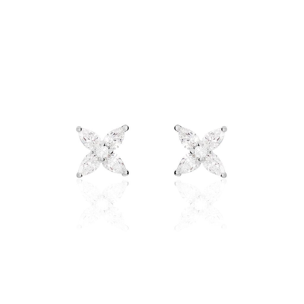 Boucles D'Oreilles Or Blanc Julieta - Clous d'oreilles Femme | Marc Orian