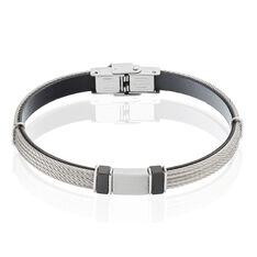 Bracelet Acier Cables Cuir