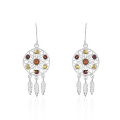 Boucles D'Oreilles Argent Attrape Reve Ambre - Boucles d'oreilles Pendantes Femme | Marc Orian