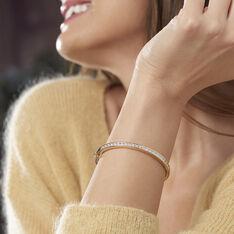 Bracelet Jonc Plaque Or Et Oxyde - Bracelets jonc Femme   Marc Orian