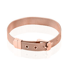 Bracelet Acier Rose Maille Milanaise