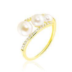 Bague Clotilda Or Jaune Et Perles