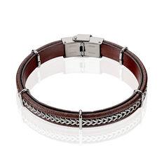 Bracelet Acier Cuir Chaine