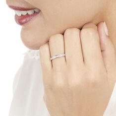 Demi Alliance Or Blanc Anneau Diamants