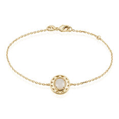 Bracelet Plaque Or Li-Nei Ovale Pierre De Lune