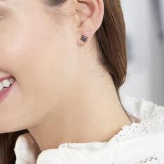 Boucles D'Oreilles Or Rose Laetia Etoiles Diamants