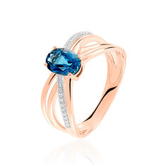 Bague London Blue Or Rose Et Topaze