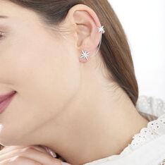 Bijoux D'Oreilles Or Blanc Edmi Etoile Oxydes
