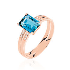 Bague Or Rose Mila Topaze London Blue