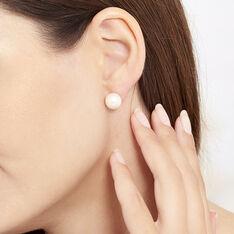 Boucles D'Oreilles Puces Or Jaune Perle