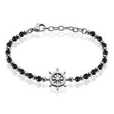 Bracelet Acier Gouvernail Acier Multi Onyx