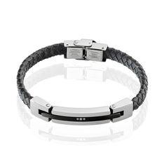 Bracelet Acier Plaquecuir Tresse