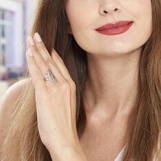 Bague Argent Rhodie Arabesque Diamantee