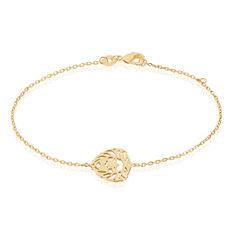 Bracelet Liona Plaque Or Tete De Lion